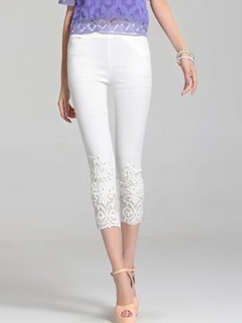 Lace Patchwork Cropped Leggings