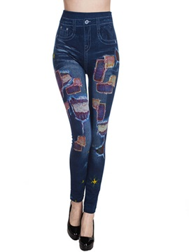 Contrast Color Tight Jeans Leggings