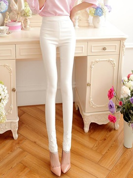 Sweet Slim Candy Color Lace Leggings