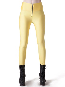 Candy Color Zipper  Slim Leggings