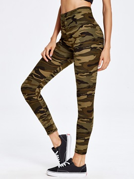 High-Waist Cotton Blends Camouflage Print Leggings
