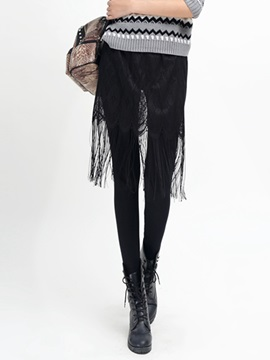 Black Faux Leather Skirt Tassels Leggings