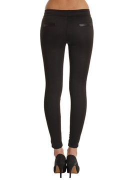 Low Waisted Tight Black Patchwork Women's Leggings