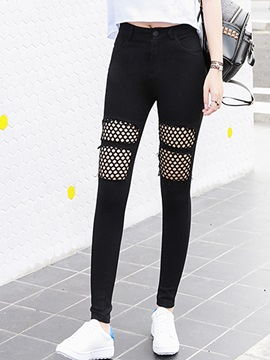 Plain Mesh Patchwork Leggings