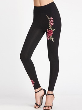 Stretchy Fabric Solid Color Embroidered Women's Casual Leggings