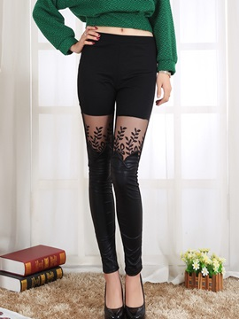 Lace Plain Slim See-Through Women's Leggings