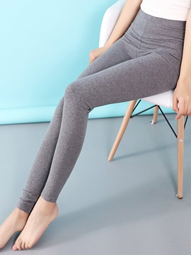 High-Waist Plain Slim Women's Leggings
