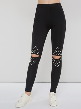 Hole Casual Polyester Women's Leggings
