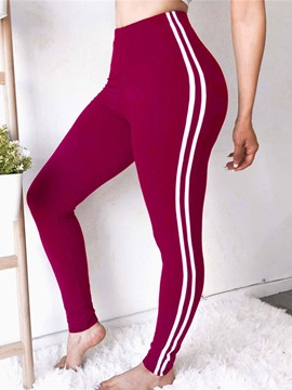 Color Block Side Striped Casual Sports Women's Leggings
