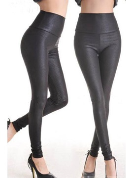Golden Black Faux Leather Leggings