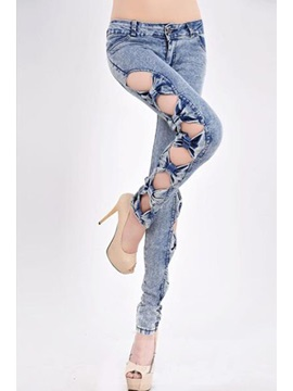 Vogue Korean Style Bow Knot Cut-outs Jeans