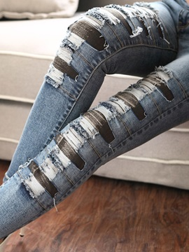 Vintage Cool Worn Out Applique Jeans