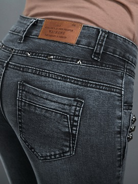 Slimming Cotton Denim Mid-Waist Pencil Jean