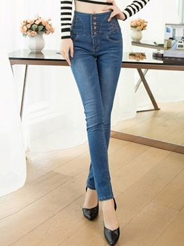 Slimming High-Waist Single-Breasted Pencil Jean