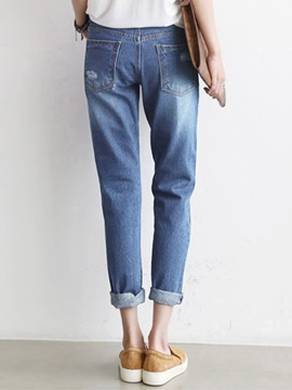 Simple Cotton Denim Hole Designed Loose-Fit Jean
