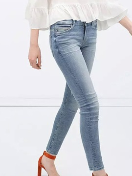 Delicate Hole Designed Straight-Leg Jean