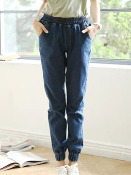 Simple Waistband Ruched-Hem Jean