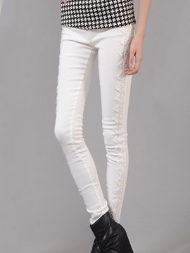 Big Yards Lace Tight-Fitting Jeans