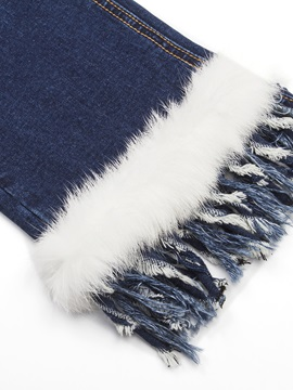 Chic Feather and Tassel Designed Jean