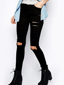 Chic Hole Designed Stretchy Pencil Jean