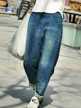 Chic Frayed Destroy Pocket Decorated Baggy Jean