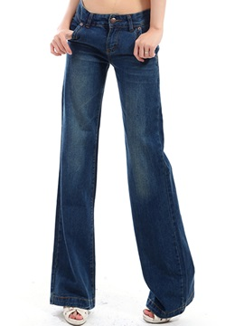 Skinny Wide-Leg Worn Women's Jean