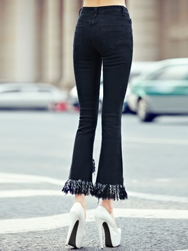 Chic Tassel Designed Ninth-Length Flared Jean