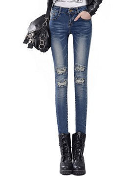 Chic Hole Designed Worn Pencil Jean