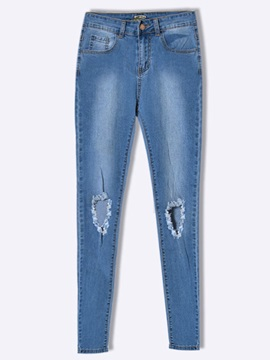 Chic Hole Designed High-Waist Jean