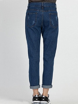 Euramerican Frayed Destroy Pencil Jean