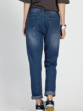 Stylish Hole Designed Straight-Leg Jean