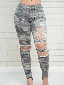 Slimming Camouflage Frayed Jean