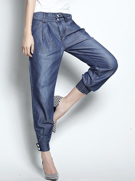 Chic Ruched-Hem Buttoned Jean