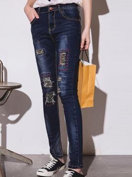 Worn-Out Denim Patchwork Jeans