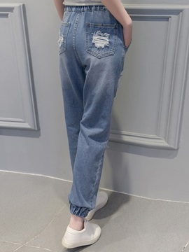 Strap Worn-Out Denim Jeans