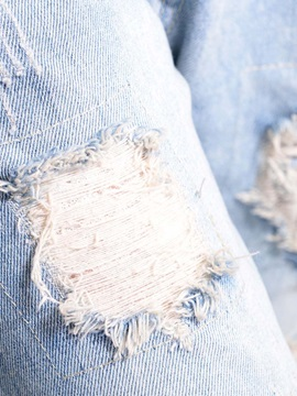 Denim Worn-Out Hemming Jeans