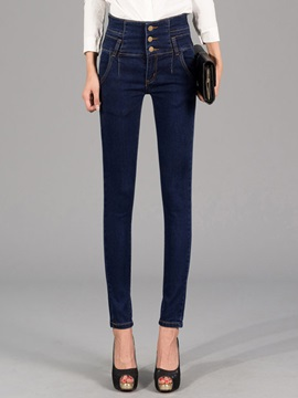 Buckle Denim Patchwork Jeans
