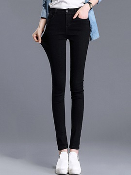 Slim Denim Button Jeans Women's Pencil Pants
