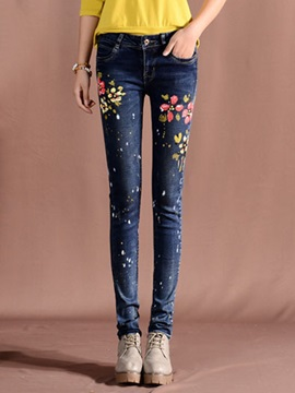 Slim Mid-Waist Print Washable Zipper Jeans
