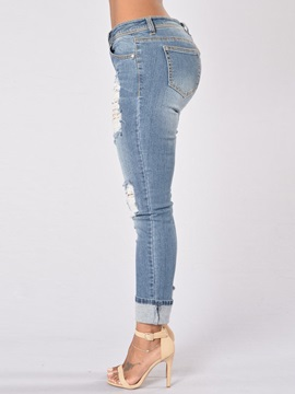 Worn-Out Ripped Patchwork Jeans