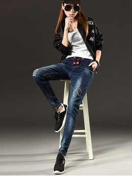 Worn-Out Patchwork Strap Harem Jeans