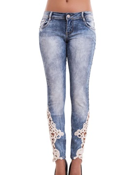 White Lace Patchwork Gradient Denim Jeans