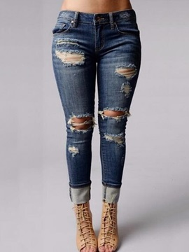 Denim Ripped Worn-Out Patchwork Jeans
