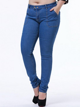 Rivet Patchwork Denim Plus Size Jeans