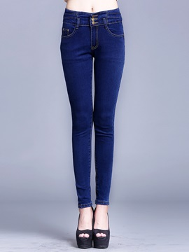 Rivet High Waist Denim Patchwork Jeans