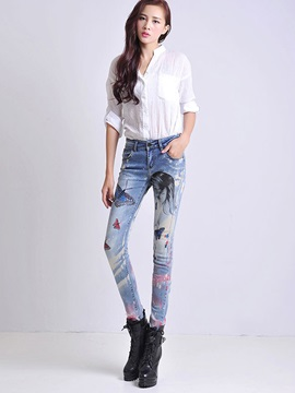 Denim Butterfly Printed Slim Jeans