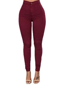 High Waisted Pure Color Tight Women's Jeans