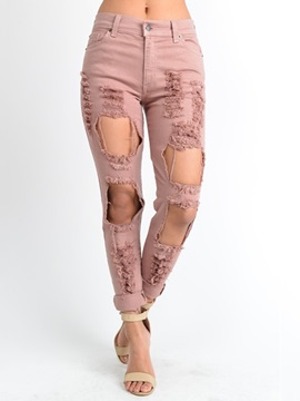 Pink High Waisted Worn-Out Women's Jeans