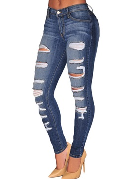 Ripped Worn-Out  Denim Jeans