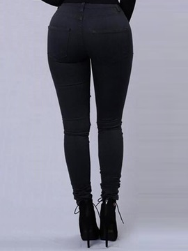 High Waist Solid Color Ripped Hole Women's Jeans